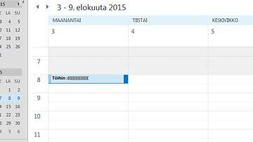 Ankea työ-merkintä kalenterissa