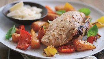 Kananrintaa peston ja parmesaanin kanssa