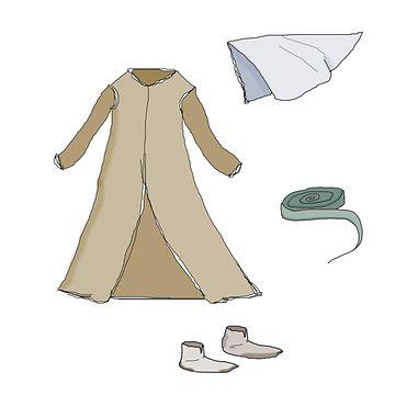 Naisten vaatteeita keskiajalla