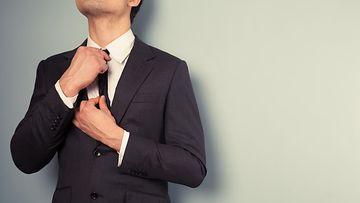 mies, puku, solmio