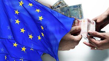 EU-lippu ja euroja