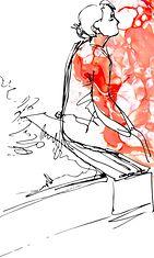 Mustavalkopiirros naisesta, punaista maalia