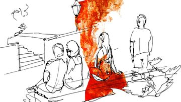 Mustavalkopiirros naisesta, punaista maalia (1)