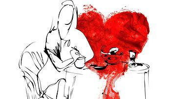 Mustavalkopiirros naisesta, punaista maalia (2)