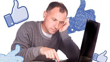 Mies ja FB-tykkäyspeukkuja