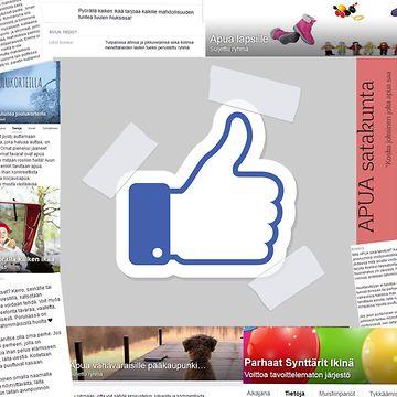 FB-tykkäyspeukku ja kuvakaappauksia Facebookin avustusryhmistä