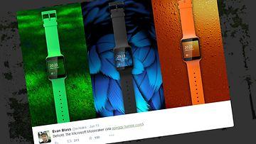 """Nokian kehittelemä """"Moonraker"""" -älykello. Kuvakaappaus Twitteristä @evleaks -tililtä."""