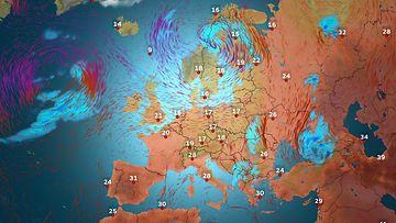 Euroopan sääennuste keskiviikolle 24. kesäkuuta 2015.