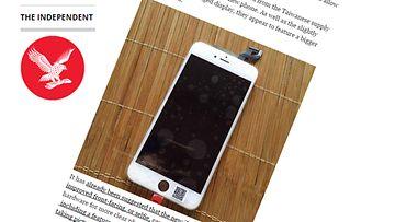 Väitetty vuotokuva iPhone 6s Plus mallista. Kuvakaappaus The Independentin sivuilta.