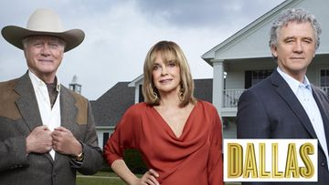 Dallas-tähdet Larry Hagman, Linda Gray ja Patrick Duffy.