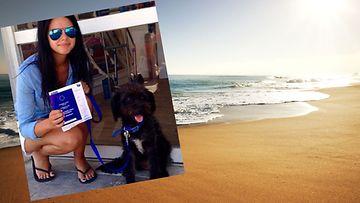 georgia bradley, kulkukoira, ranta, kuvakaappaus