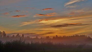 Sumua Leivonmäellä auringonlaskun aikaan 6. syyskuuta 2015. Kuva: Maarit Siitonen