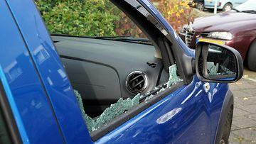 auto, ikkuna, rikki