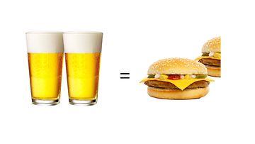 Olut ja juustohampurilainen