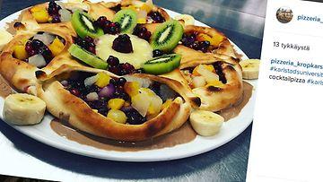 hedelmäpizza, kuvakaappaus, instagram