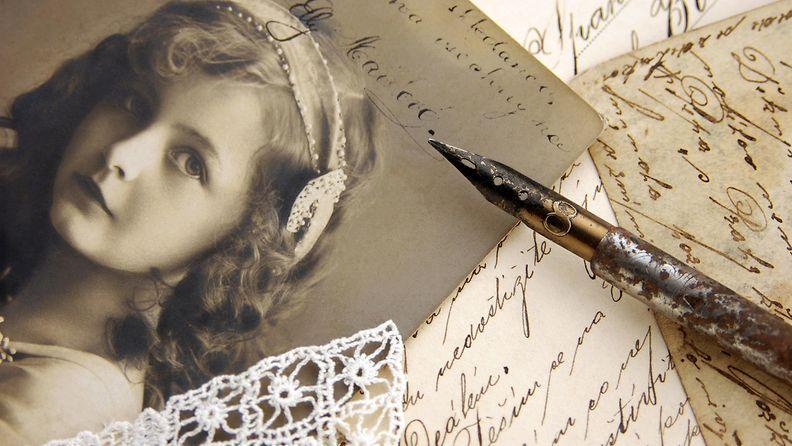 valokuva, vanha, kirjeita, nainen