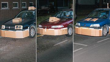 Superautot, kollaasi pahvi tuunaus tuunatut