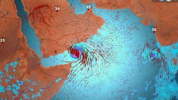 Voimakas hirmumyrsky, trooppinen sykloni Chapala, etenee kohti Jemeniä ja Omania loka-marraskuun vaihteessa 2015.
