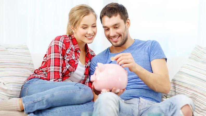 pariskunta, raha, säästöpossu