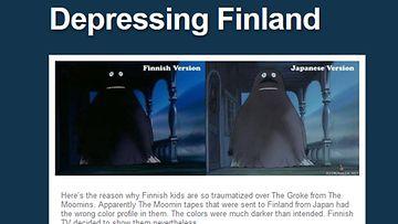 Kuvakaappaus Depressing Finlandin Tumblr-sivustolta