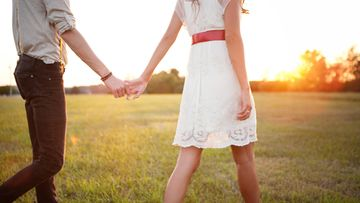 pari, auringonlasku, kävellä