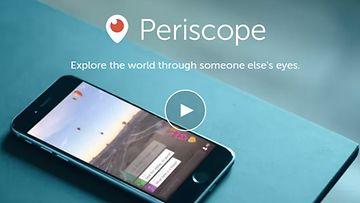 Periscope-videopalvelu, kuvakaappaus sovelluksen verkkosivuilta