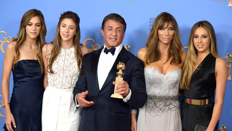 Sylvester Stallone Glofden Globe tyttäret ja vaimo
