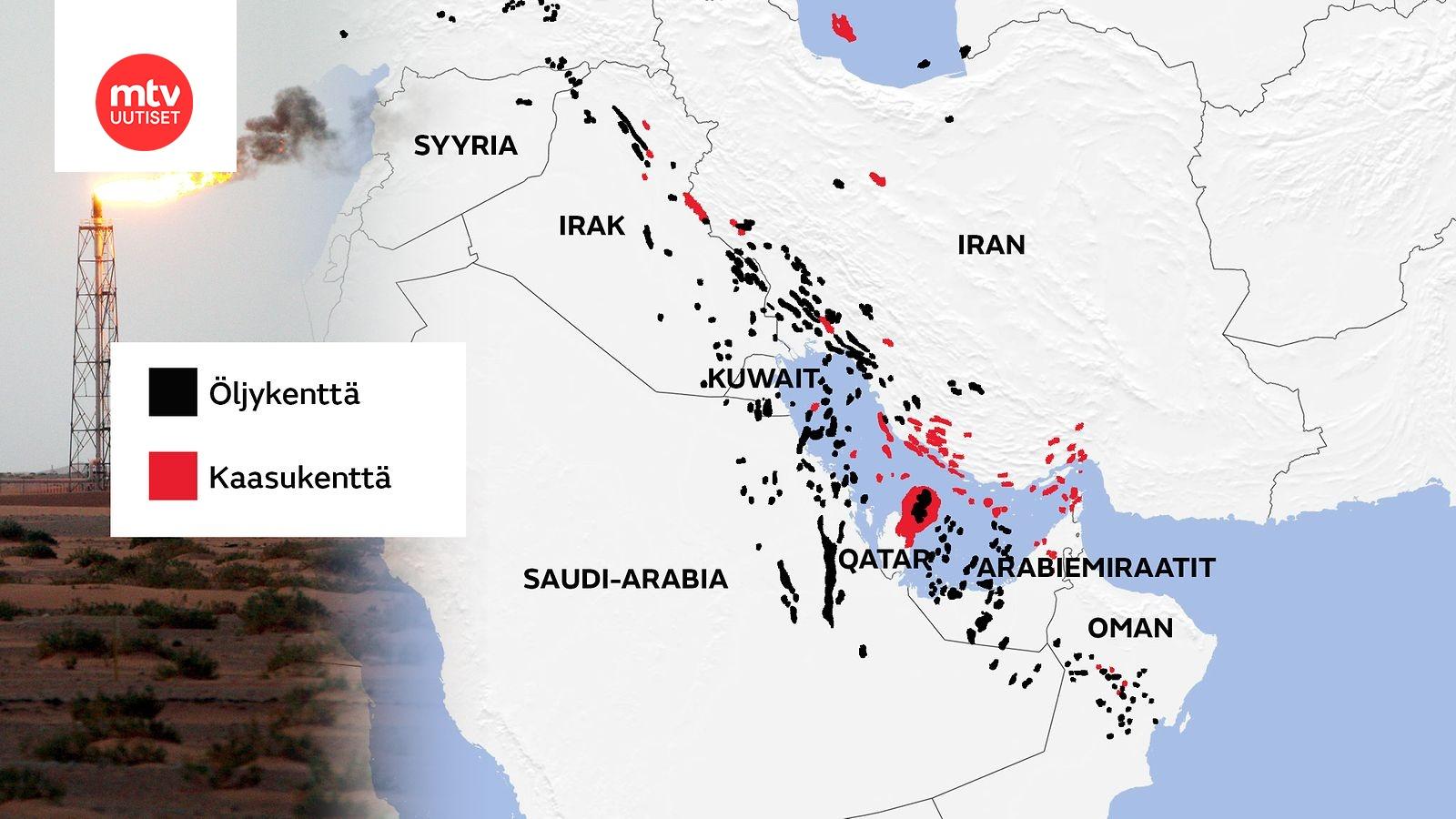 Kartta Saudi Arabian Ja Iranin Valtataistelu Nain Oljyvarannot