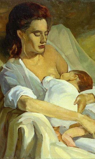 Nainen imettää lastaan.