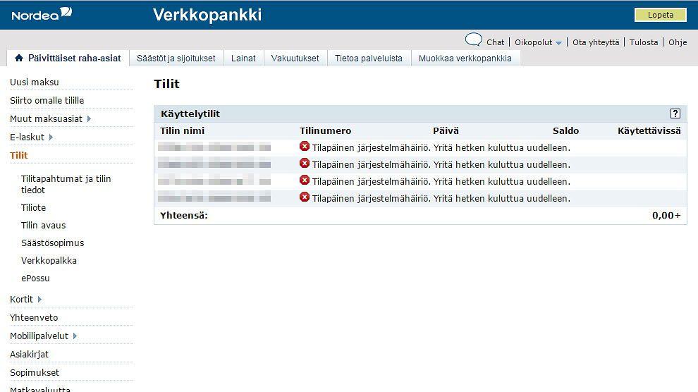 Nordea Verkkopankki Häiriö Tänään
