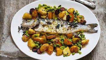 Kala härkäpavut annos ruoka