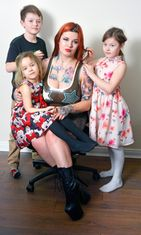 Sabien Demonia seen with her kids Wiktoria (8), Damian (9) and Maja (6