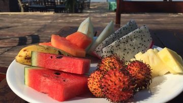 Phu Quoc-saarella aamupalaksi eksoottisia hedelmiä