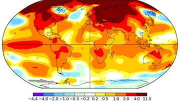 Helmikuun 2016 lämpötilapoikkeama vuosien 1951-1980 keskiarvoon verrattuna. Pohjoisella pallonpuoliskolla oli laajalti yli neljä astetta keskimääräistä lämpimämpää. Lähde: NASA