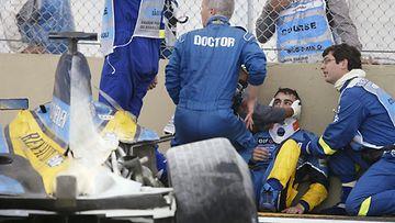 Fernando ALonso, 2003, Brasilia, onnettomuus, kolari