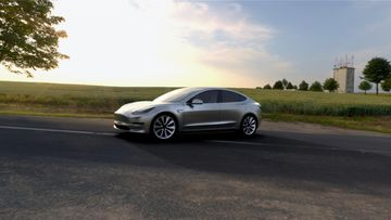 Hopeinen Tesla Model 3.