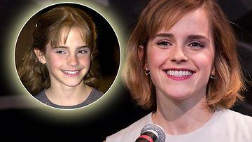 Emma Watson vuonna 2001 ja 2016
