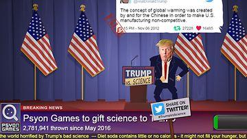 Kuvakaappaus Trump Vs. Science -nettipelistä
