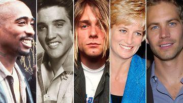 kollaasi Ovatko he hengissä kuitenkin 2016 Cobain, Diana, Tupac, Elvis, Walker