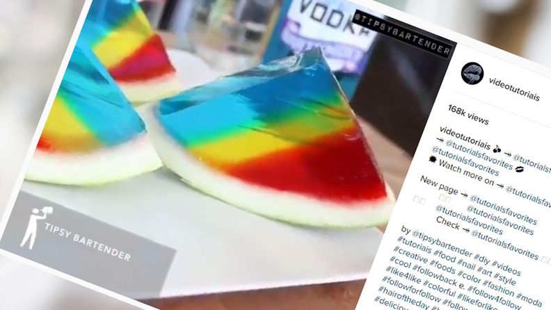 Vesimelonijelloshotti voi olla yksi luovimpia tapoja nauttia alkoholia. Kuva: Ruutukaappaus Instagramista.