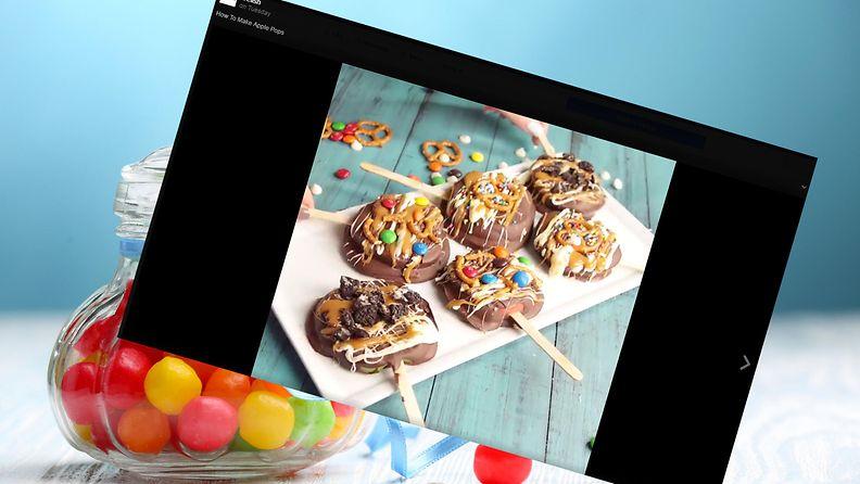 Suklaiset omenatikkarit vievät kielen mennessään. Kuva ruutukaappaus Facebookista.