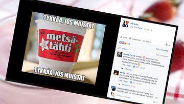 Metsätähti-jogurtti on kerännyt yli 15 000 tykkäystä Facebookissa. Kuva ruutukaappaus 80-luvulle omistetusta Facebook-ryhmästä.