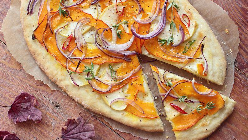 Kurpitsa sopii pizzaan loistavasti.