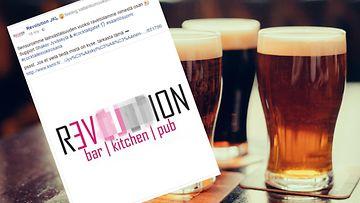"""Revolution on ilmoittanut sensuroivansa nimestään sanan """"olut"""". Kuva on ruutukaappaus ravintolan Facebook-sivuilta."""