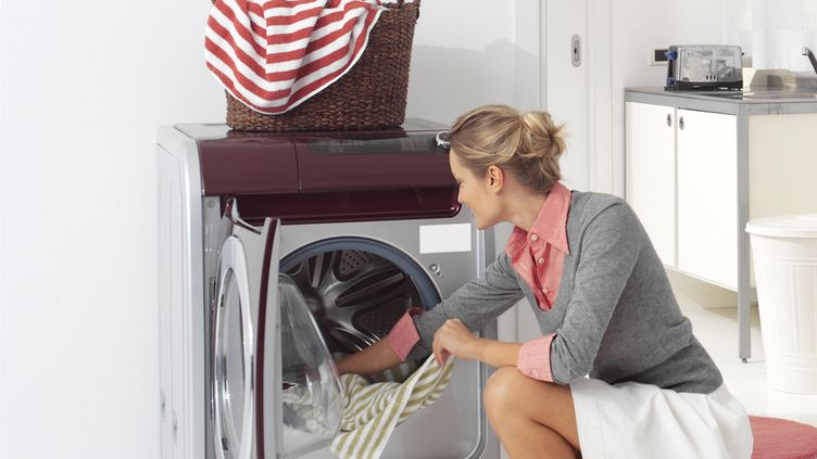 laundry and woman