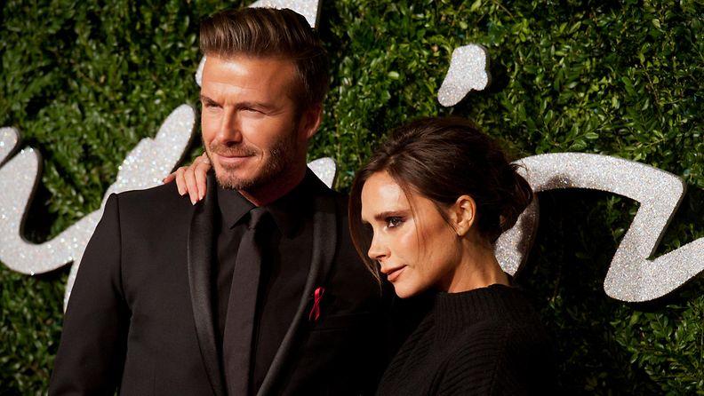 Victoria ja David Beckham joulukuu 2014