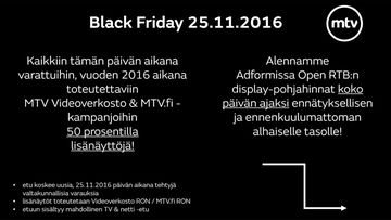 Black Friday 25.11.2016 MTV.fi ja MTV Videoverkosto kuva 2