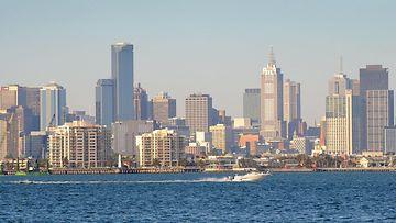 Melbournen kaupungin silhuetti.