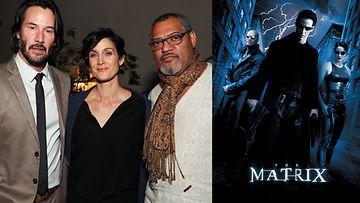 Keanu Reeves, Carrie-Anne Moss ja Laurence Fishburne 2017 ja 1999