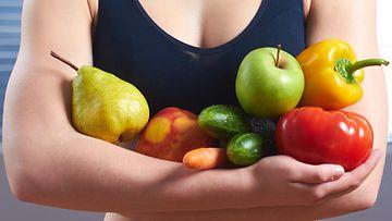 nainen, hedelmät